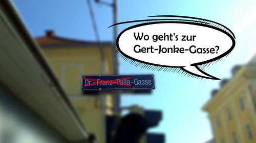 Wo geht´s zur Gert-Jonke-Gasse? Kundgebung für die Umbenennung der Dr.-Franz-Palla-Gasse