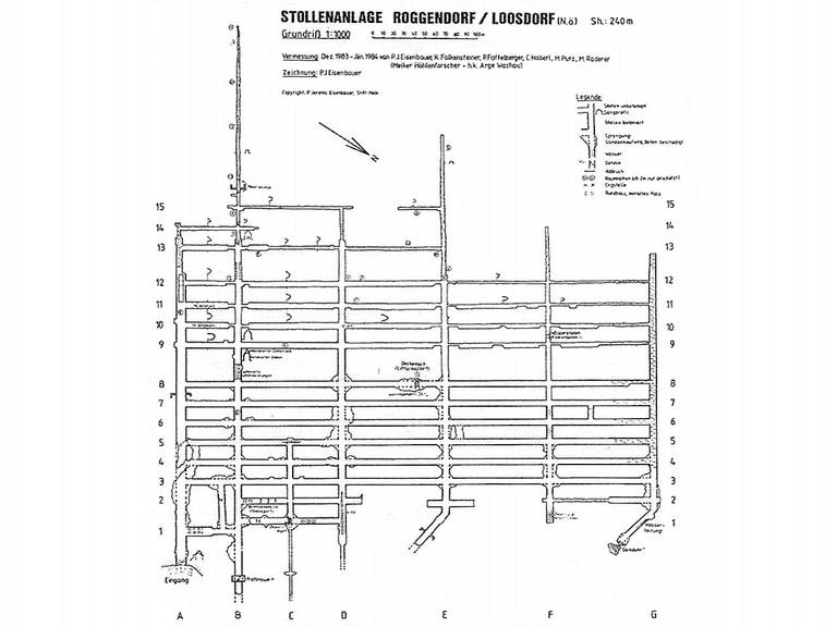 Plan der Stollenanlage Roggendorf, Zeichnung: Pater J. Eisenbauer © erlauferinnern.at