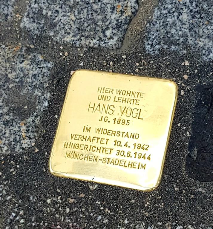Stolperstein für Hans Vogl, Zell am Ziller (Foto Wolfgang Palaver)