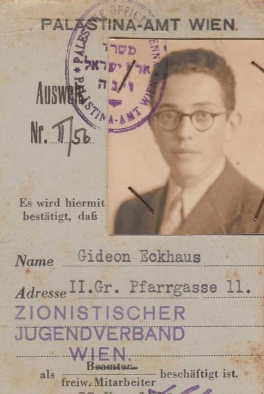 Gideon Eckhaus' Ausweis für das Palästina-Amt Wien (1938).