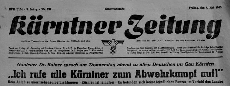 Kärntner Tageszeitung, 4.Mai 1945