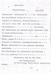 Sterbeurkunde Arthur Sohm, ausgestellt durch KZ Mauthausen