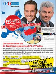 Wahlwerbung, die auf Antisemitismus, Fremdenangst ud Antiamerikanismus setzt? Wahlplakat der FPÖ im EU-Wahlkampf Mai 2009