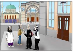 """Ist das antisemitisch? Original Bildunterschrift: """"Everyone has the freedom of thought, conscience and religion."""" Aus einer Lehrunterlage der flämischen Organisation für Menschenrechtserziehung """"Vormen"""". http://www.vormen.org/downloads/IllustrHumRightsText1OnA4.pdf"""