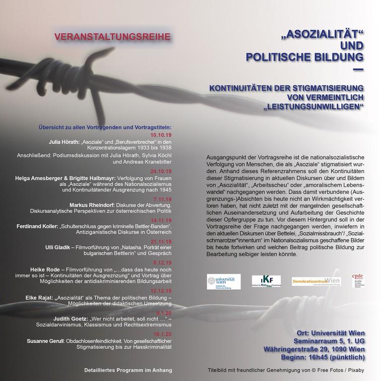 Vortragsreihe vom Fachbereich Didaktik der politischen Bildung in Kooperation mit dem Demokratiezentrum und dem Institut für Konfliktforschung.