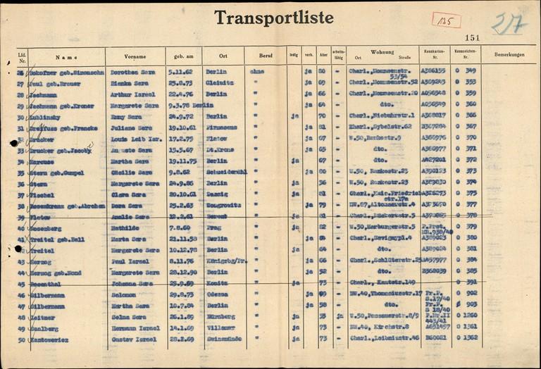 """Transportliste über einen der sogenannten """"Alterstransporte"""" von älteren Jüdinnen und Juden aus Berlin ins Ghetto Theresienstadt. (© Arolsen Archives)"""