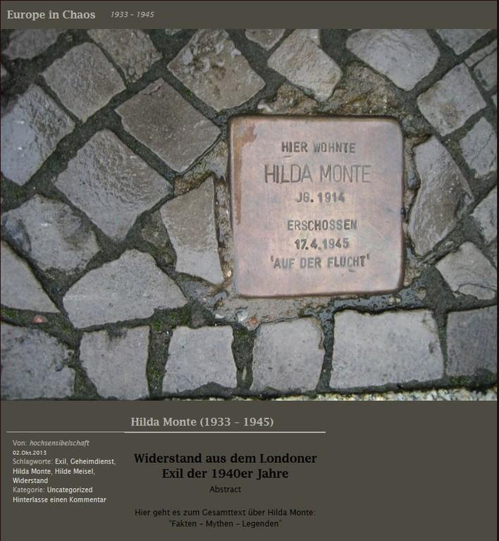 Gedenken an Hilda (Hilde) Monte-Olday (1914-1945)