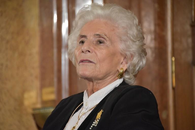 """Suzanne-Lucienne Rabinovici wurde 86. Sie überlebte das Ghetto von Wilna und zwei Konzentrationslager. Ihre Überlebensgeschichte verarbeitet sie in ihrer Autobiographie """"Dank meiner Mutter"""". (Foto CC C. Michelides)"""