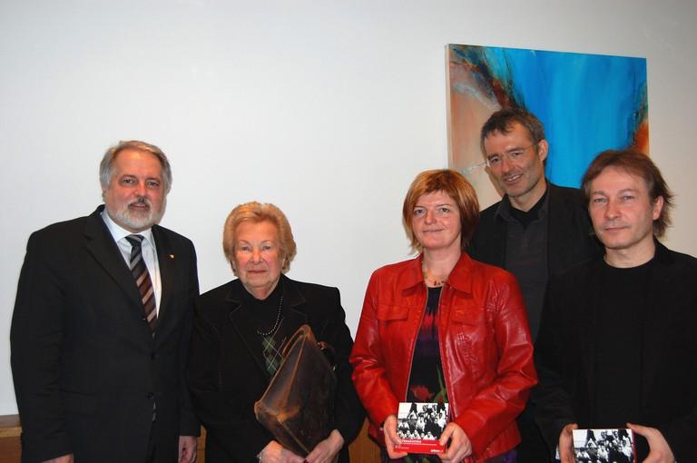 Präs. Dr. Koler, Dorli Neale, Irmgard Bibermann, Werner Dreier, Horst Schreiber, Innsbruck, 13.1.2009