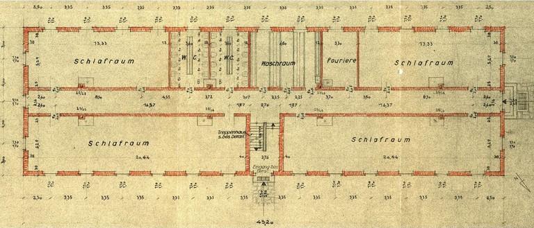 Grundriss des Erdgeschoßes von Block 17 aus dem Jahre 1941. Foto: APMAB/Turkiewicz/Nationalfonds