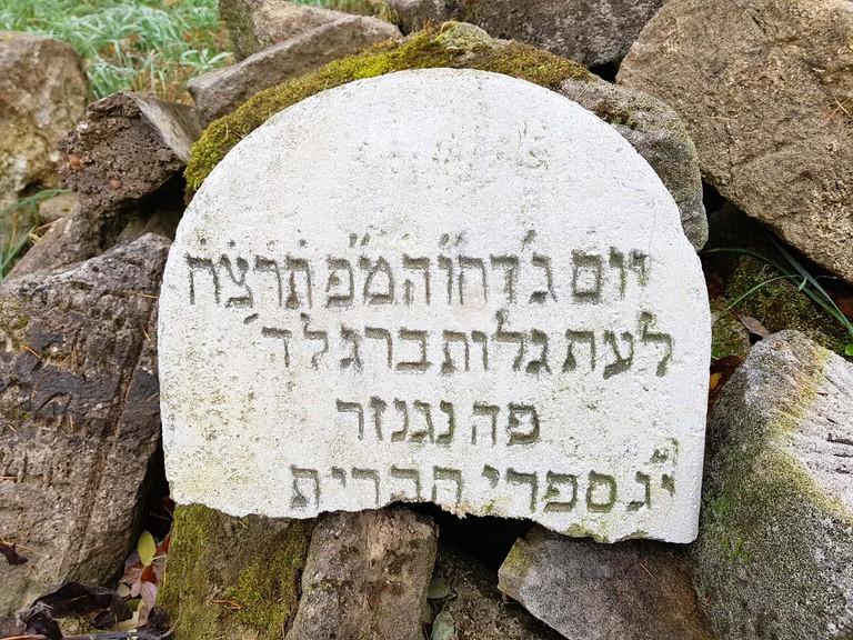 Das neu entdeckte Grabsteinfragment von Genisagrab am jüdischen Friedhof Kobersdorf (Foto: Mag. Reiss)