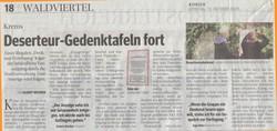 Tageszeitungsbericht drei Tage später