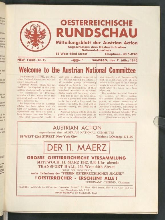 Mitteilungsblatt Austrian Action März 1942. Der Schriftsteller Franz Werfel war eines der prominenten Mitglieder der Austrian Action, er lebte in Beverly Hills im Exil.  (© ANNO/ÖNB)
